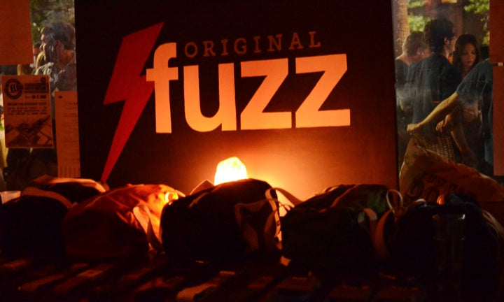 A display of Original Fuzz gear at Underbelly for Dylan Fest