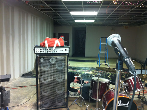 The El Dorado rests on top of a sunn bass amp