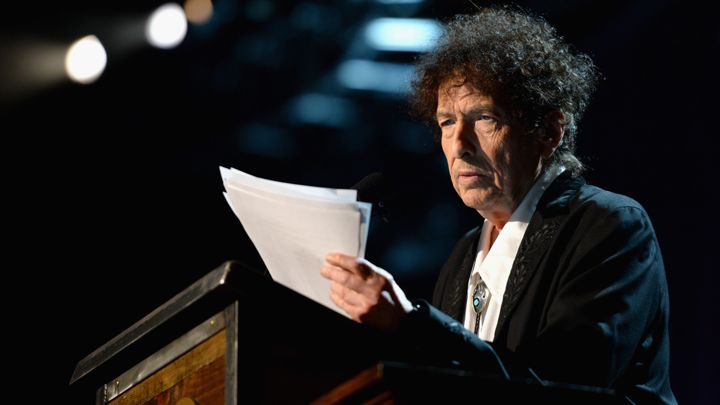 Bob Dylan speaking during Grammy week in 2015