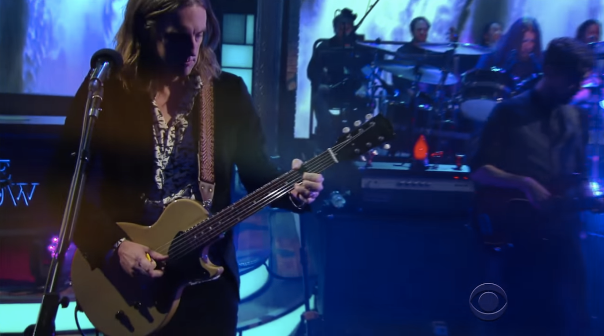 Carl Broemel of My Morning Jacket wears an Original Fuzz guitar strap on The Late Show with Steven Colbert