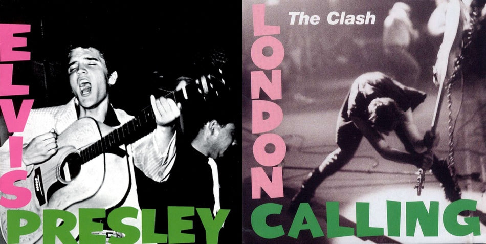 Side by side comparison of Elvis's debut album cover with the cover for The Clash's London Calling