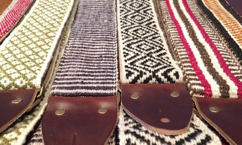 Close up of the leather end tabs in our new Peruvian straps