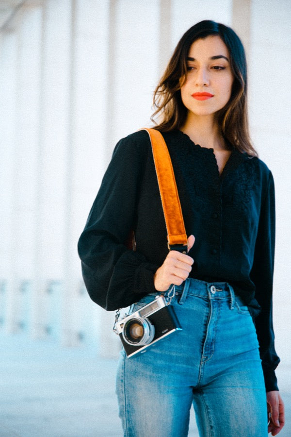 Original Fuzz fall 2018 look book featuring the new skinny camera strap worn by Coco Reilly.