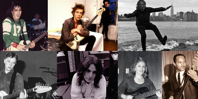 Photo montage of Joan Jett, Richard Hell, Ty Segall, Bernard Sumner, Alex Chilton, Carol Caye, and James Jamerson