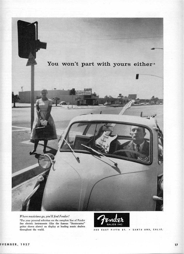 Fender gentleman in traffic ad
