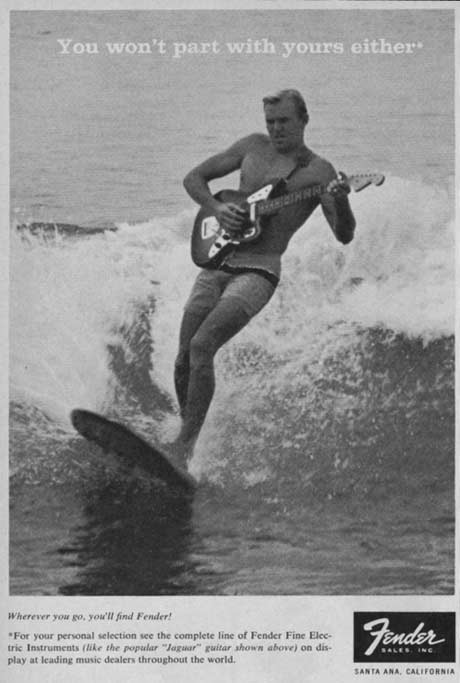 1960s fender print ad with a guy surfing