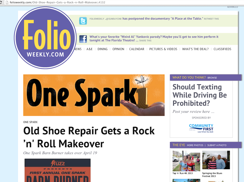 Folio Weekly article about the One Spark Barn Burner
