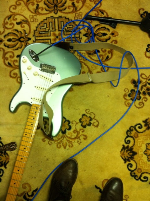 American made Fender Stratocaster with a prototype blue Fuzz cable.