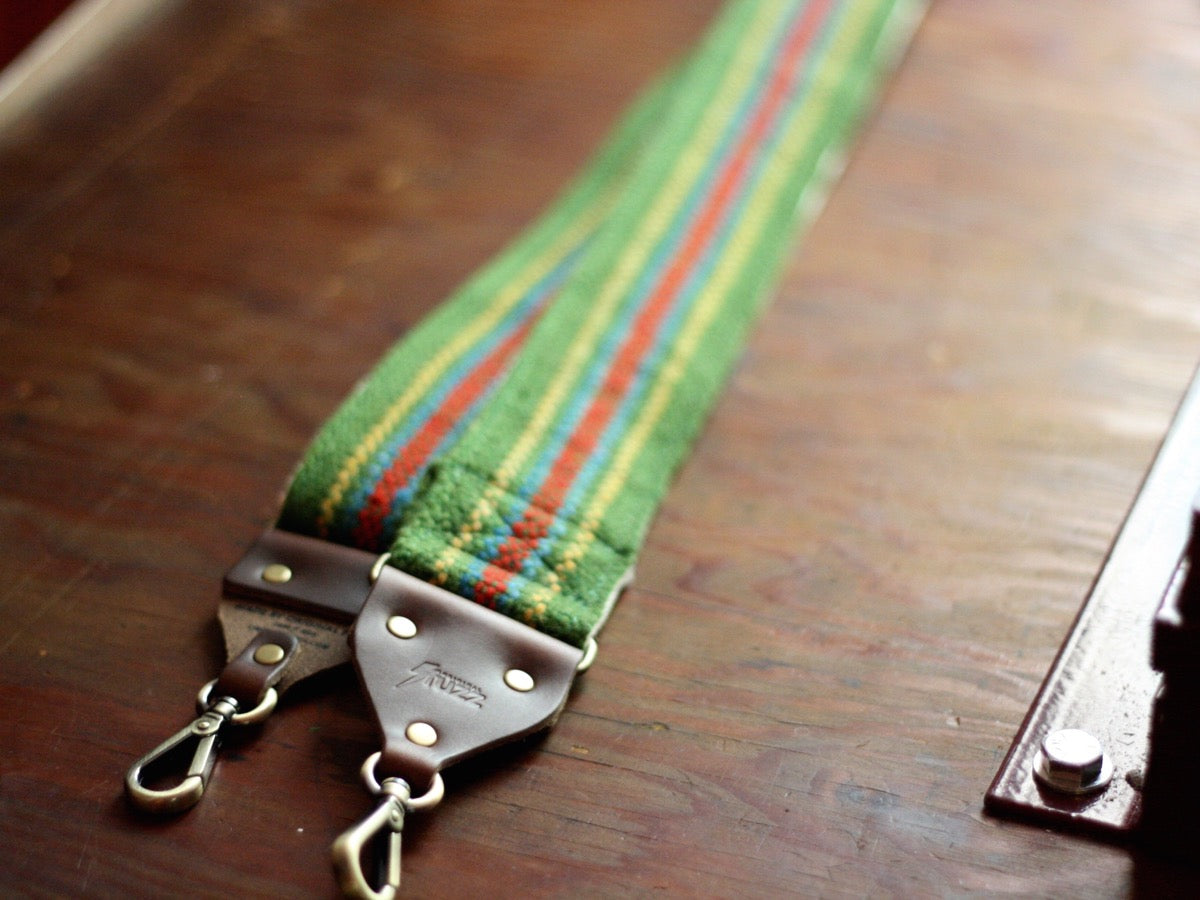 The Peruvian Camera Strap in Green Stripes