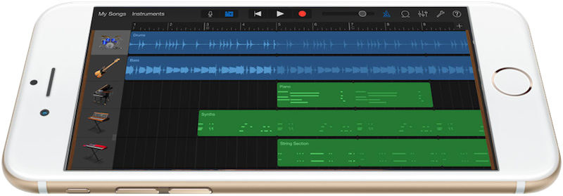 the iPhone 6 running Garage Band for iOS