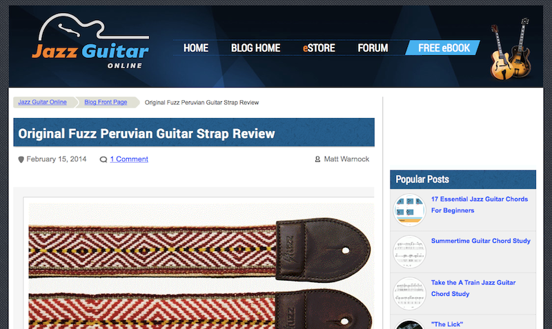 Screenshot of the review of our Peruvian strap at Jazz Guitar Online