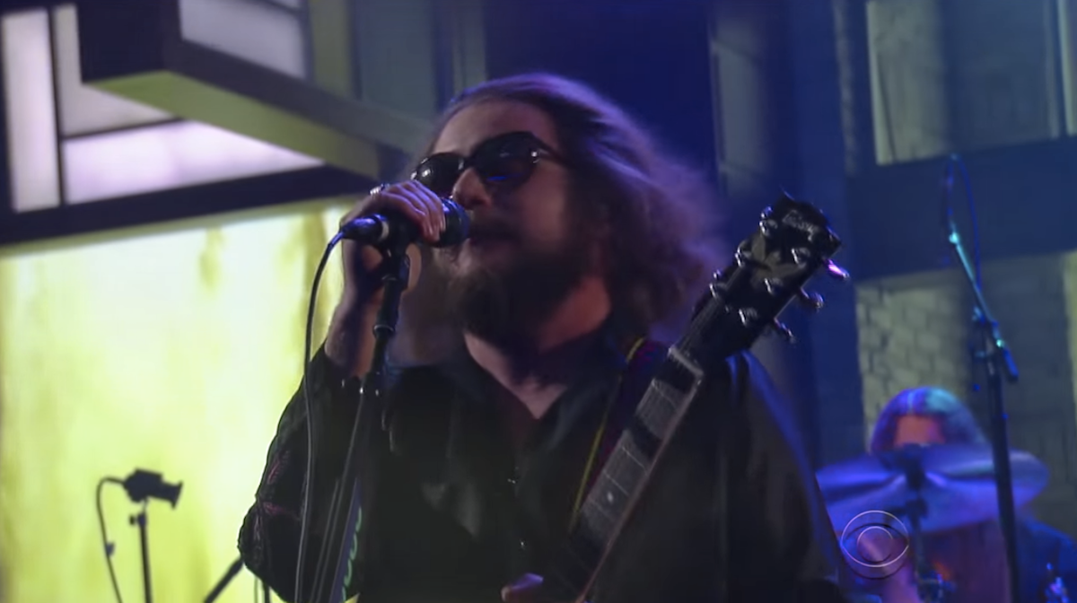 Jim James of My Morning Jacket wears an Original Fuzz guitar strap on The Late Show with Steven Colbert