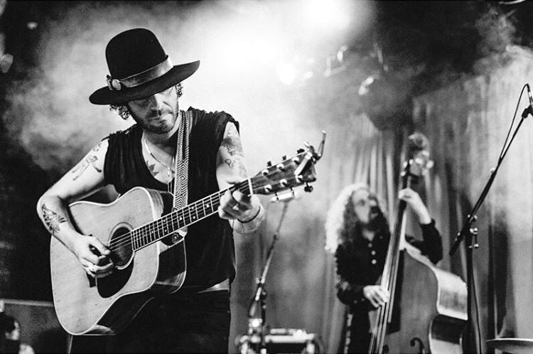 Langhorne Slim performs at the Mercy Lounge in Nashville with a Peruvian guitar strap from Original Fuzz