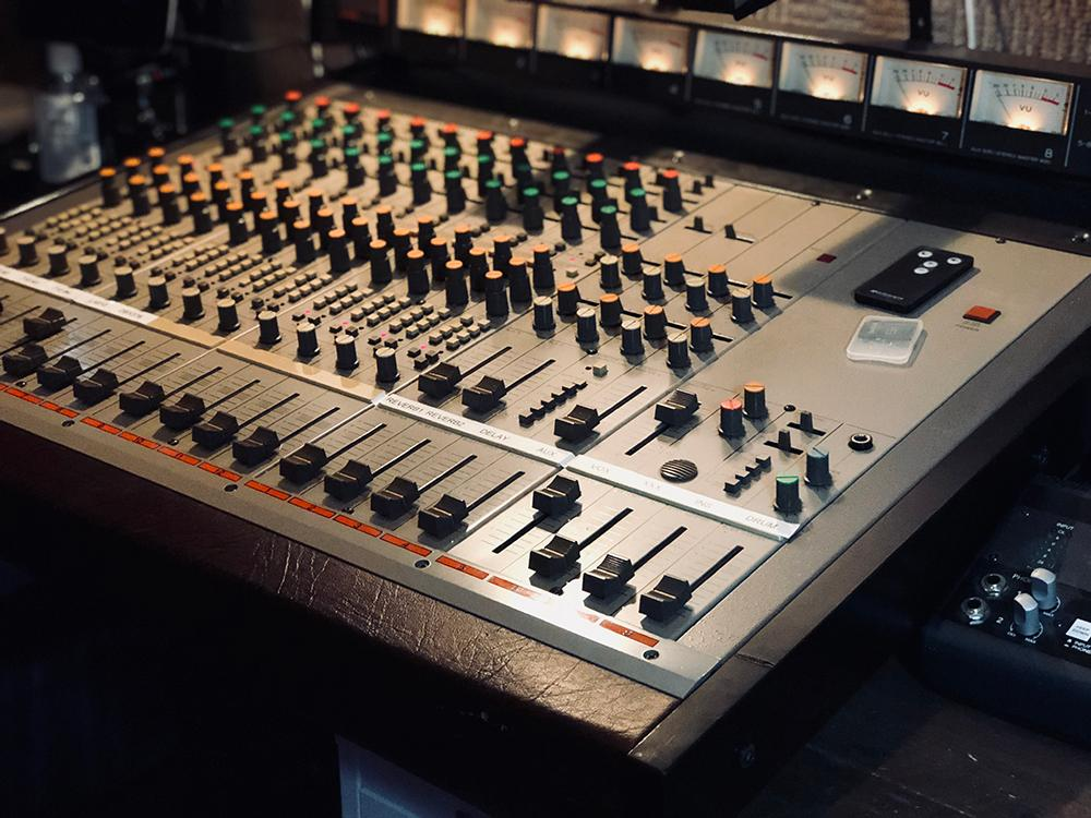 The mixing board at Leesta Vall Sound Recordings in Bushwick, Brooklyn