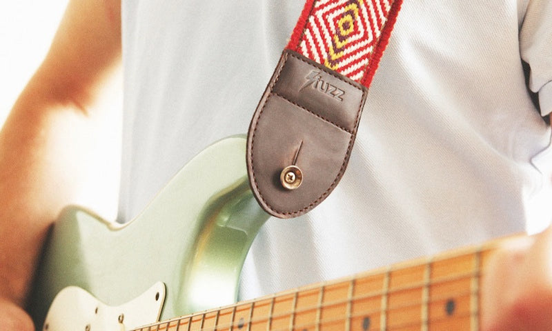 The Peruvian guitar strap looks great on a Stratocaster.