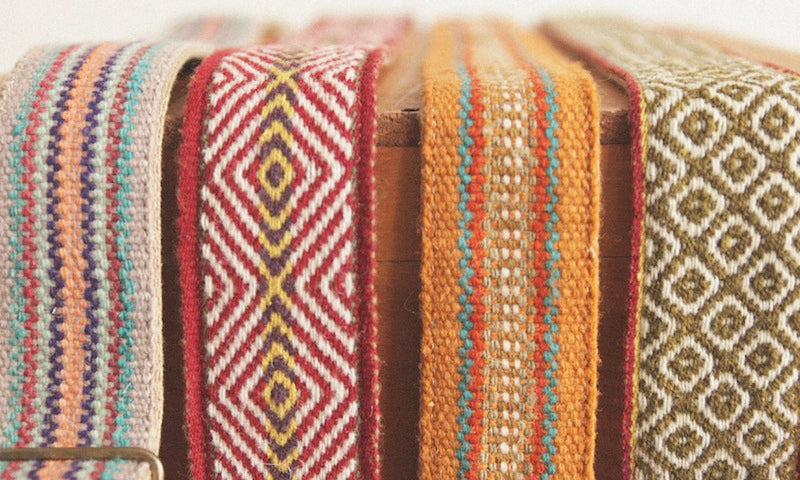 Our Peruvian guitar straps come in a wide variety of beautiful colors.