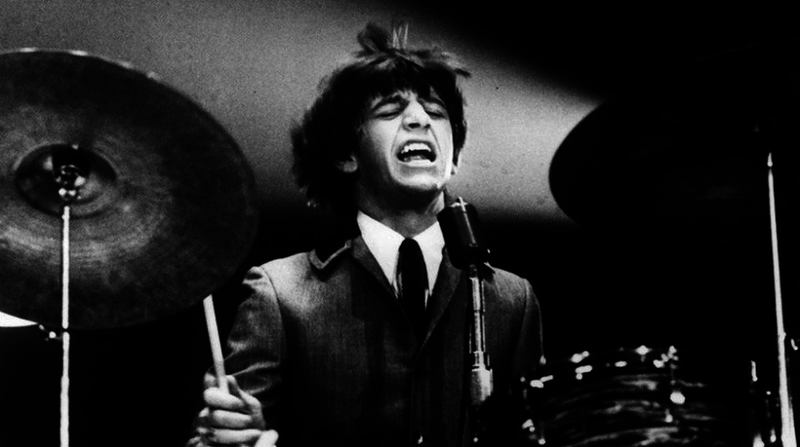 Ringo beats the crap out of his drums at the Washington Coliseum, February 11, 1964