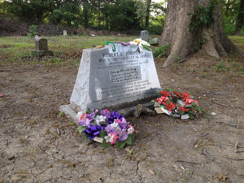Larger view of the grave marker for Robert Johnson