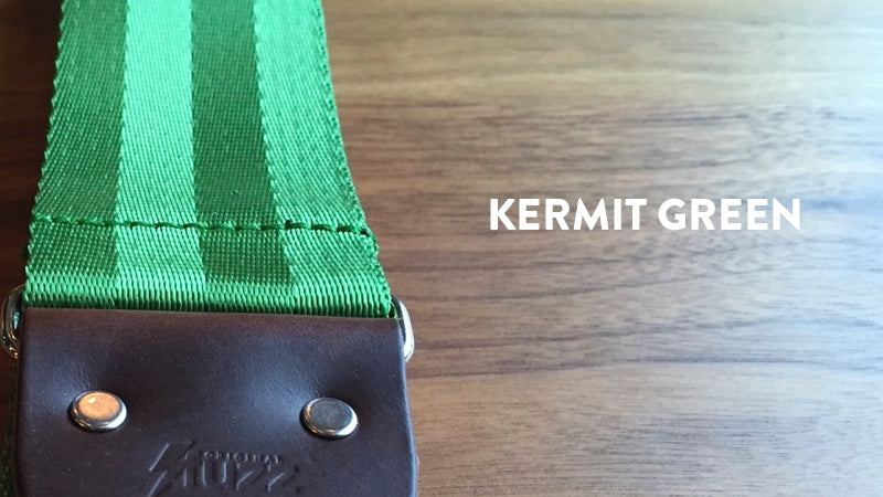 Our seatbelt guitar strap in Kermit Green