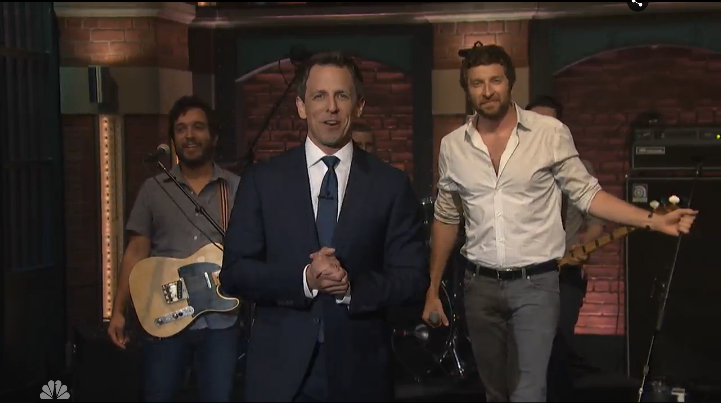 Greg Carillo, Brett Eldredge and Seth Meyers
