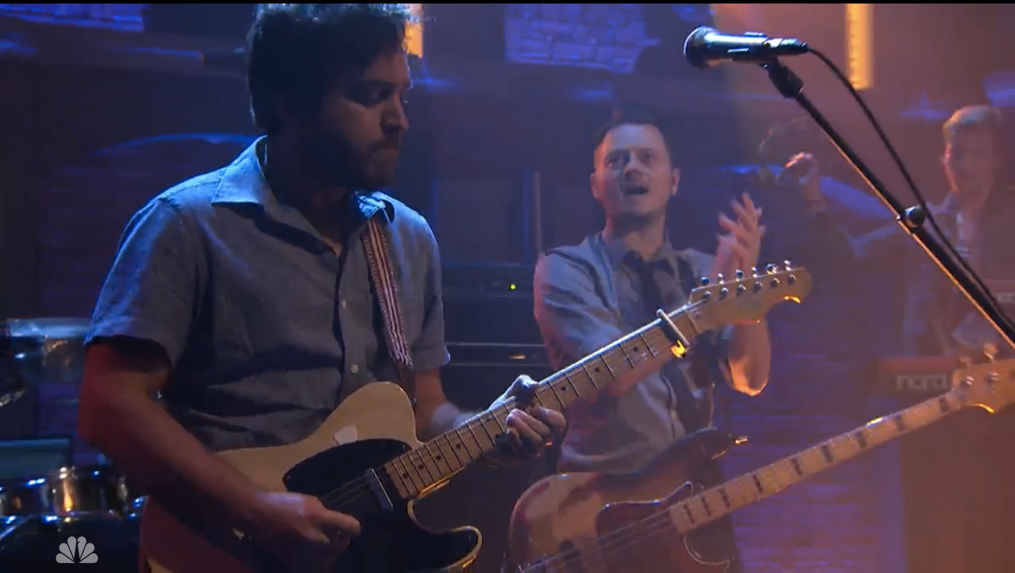 Greg Carillo plays his Telecaster with Peruvian guitar strap on Seth Meyers