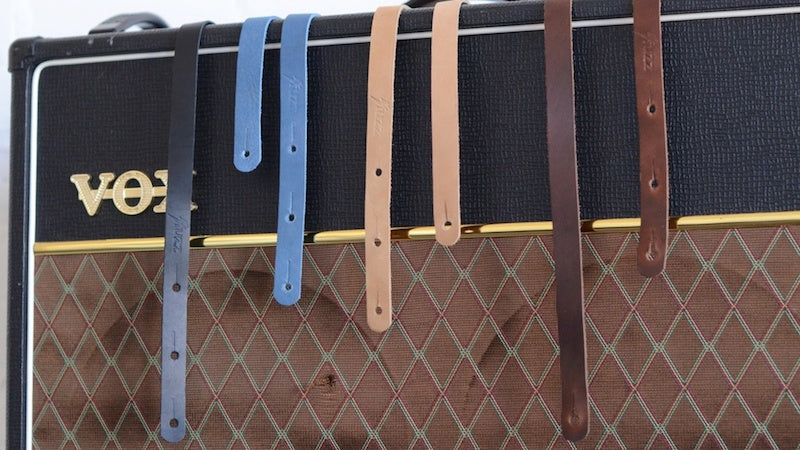 All 4 colors of the skinny leather strap by original fuzz