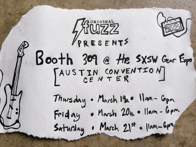 poster for Original Fuzz's booth at the 2015 SXSW Gear Expo