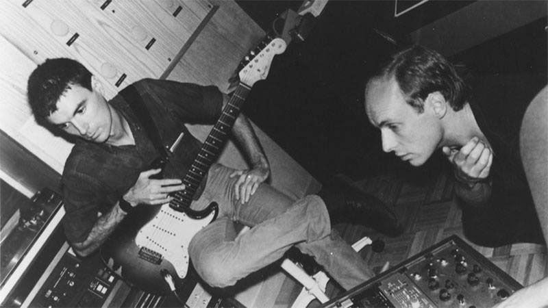 David Byrne and Brian Eno in the studio.