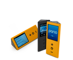 The pono music player comes in yellow and black