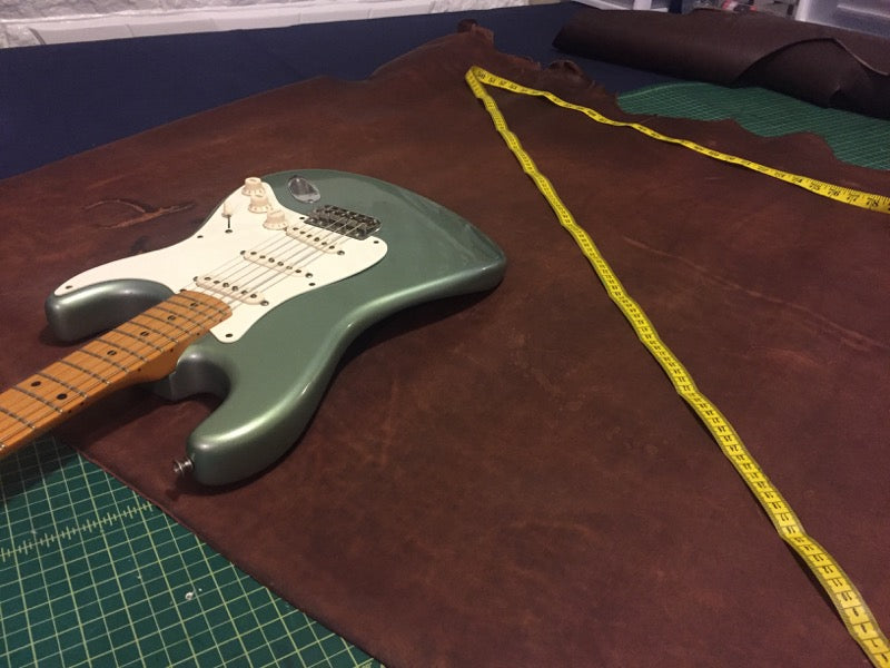 how we made the triple wide leather guitar strap 1