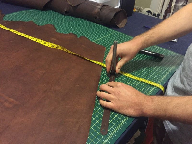 how we made the triple wide leather guitar strap 3