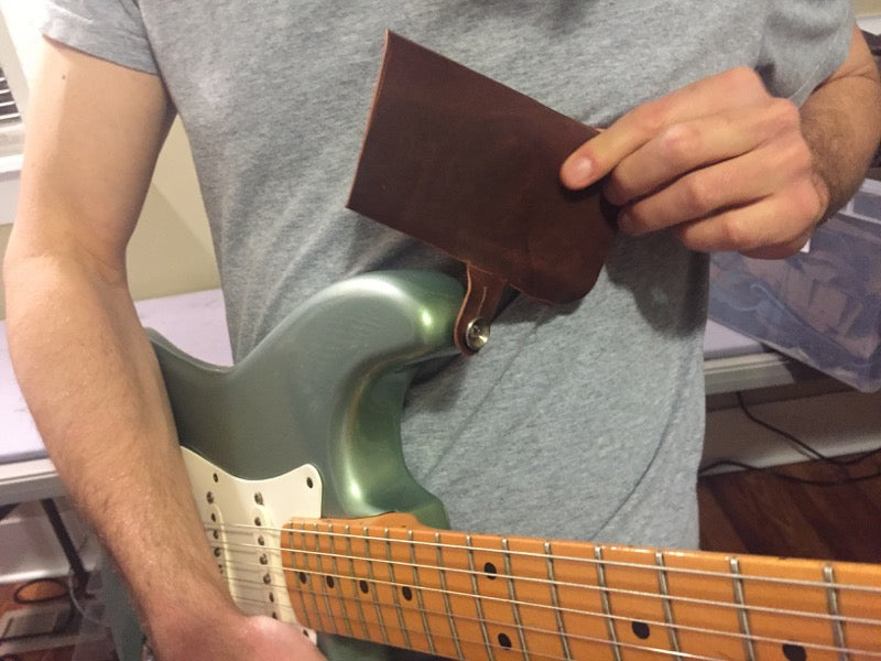 how we made the triple wide leather guitar strap 4