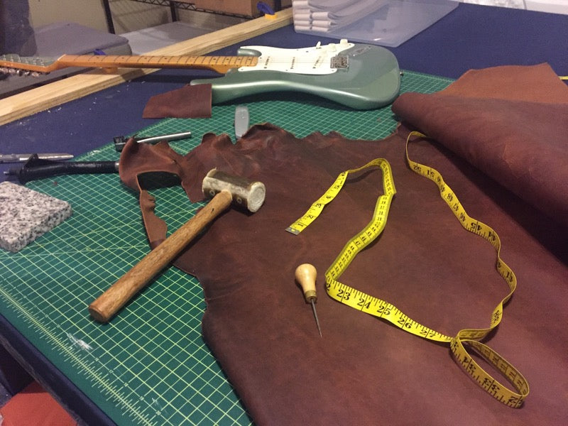 how we made the triple wide leather guitar strap 5