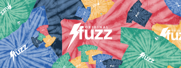 Various tie dye t-shirt options with the Original Fuzz logo.