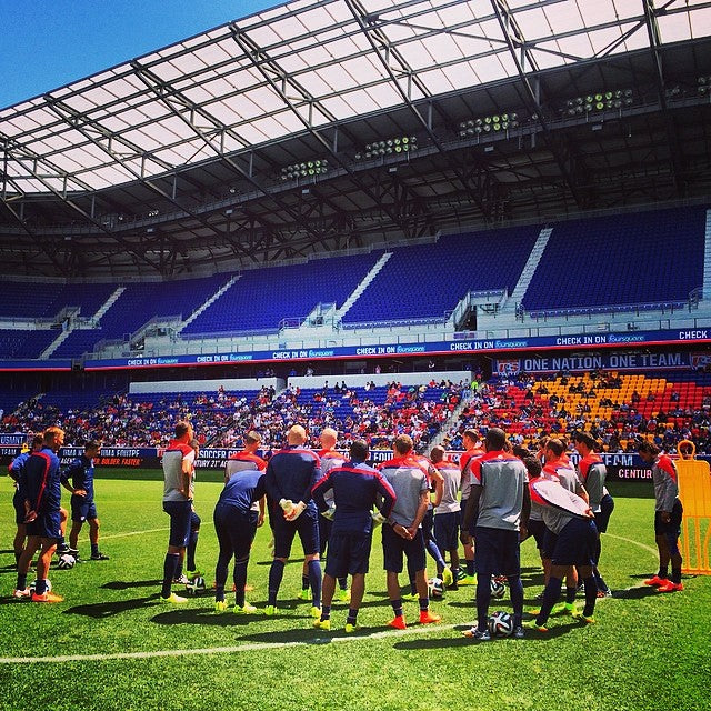 US World Cup team at an open training session