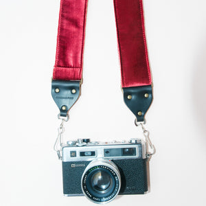 Red velvet vintage-style camera strap made by Original Fuzz in Nashville, TN.