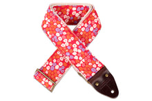Vintage hot pink guitar strap with a floral polka dot design made by Original Fuzz in Nashville, TN.