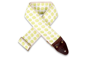 Vintage lime floral guitar strap by Original Fuzz.