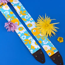 Our reclaimed floral print guitar strap - photo from summer 2019 photoshoot