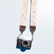 red white blue minimalist silkscreen vintage style camera strap in artist series Matt Kivel by original fuzz
