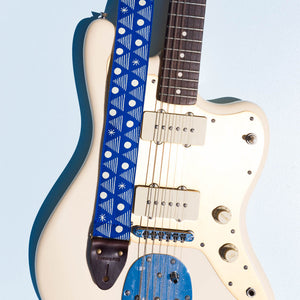 blue and white silkscreen artist series Alex Bleeker Real Estate guitar strap by original fuzz