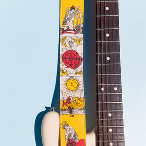 warm orange red yellow tarot card artist series silkscreen Eric Slick guitar strap by original fuzz