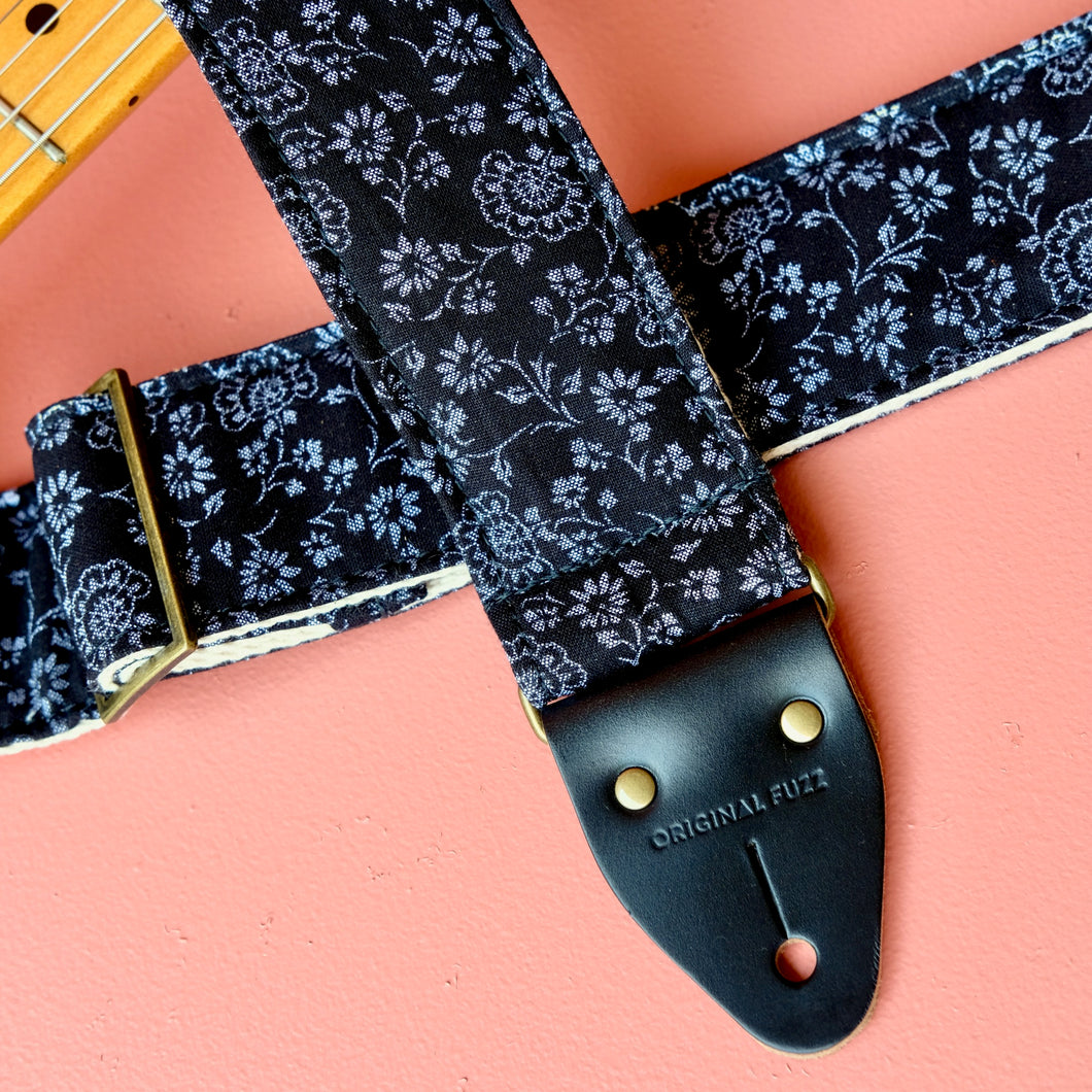Classic black floral cotton handmade guitar strap.