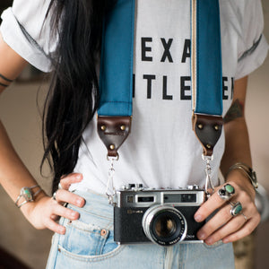 Canvas Camera Strap in Blue Collar Product detail photo 1