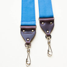 Blue vintage-style cotton canvas camera strap made by Original Fuzz in Nashville.