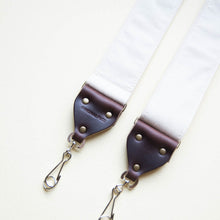 Cream white cotton canvas vintage-style camera strap made by Original Fuzz in Nashville, TN.