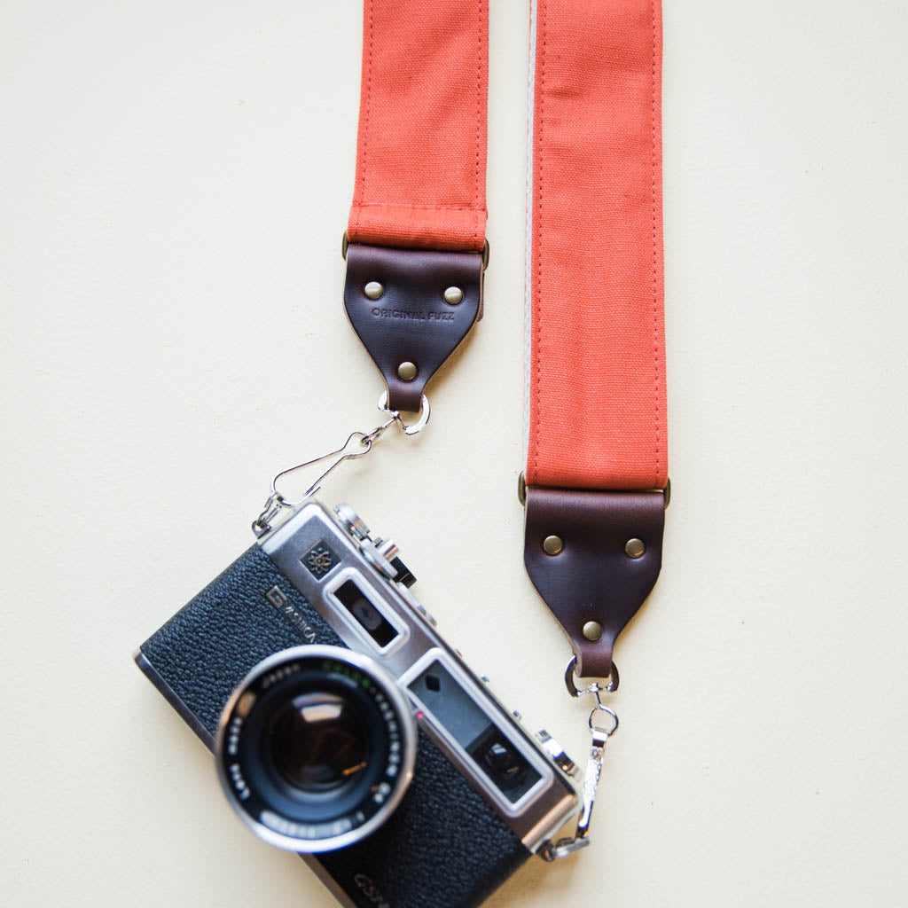 Paprika orange vintage-style cotton canvas camera strap by Original Fuzz.