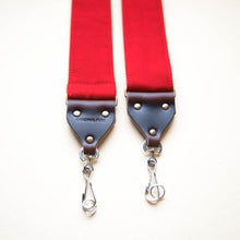 Red cotton canvas vintage-style camera strap made by Original Fuzz in Nashville.