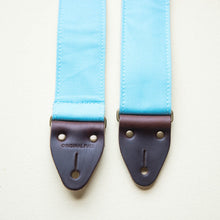 Light arctic blue cotton canvas vintage-style guitar strap made by Original Fuzz in Nashville.