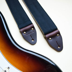solid black canvas guitar strap by original fuzz